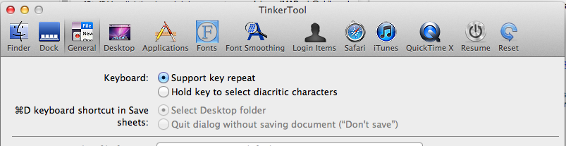 TinkerTool options
